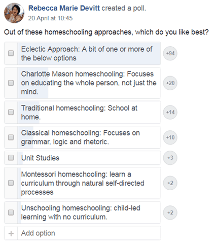Prefered home education methods among American Christian homeschoolers