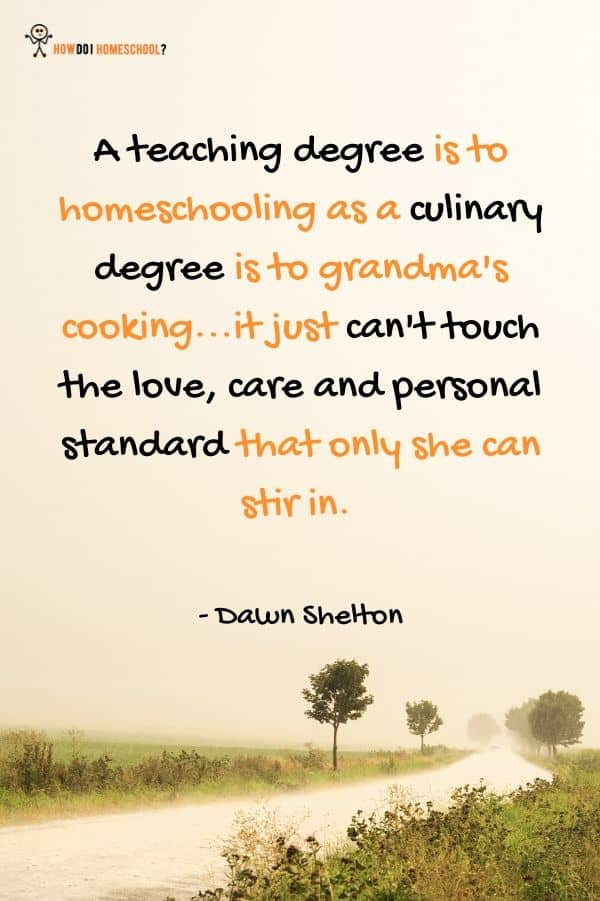 A teaching degree is to homeschooling as a culinary degree is to grandma's cooking...it just can't touch the love, care and personal standard that only she can stir in. Dawn Shelton