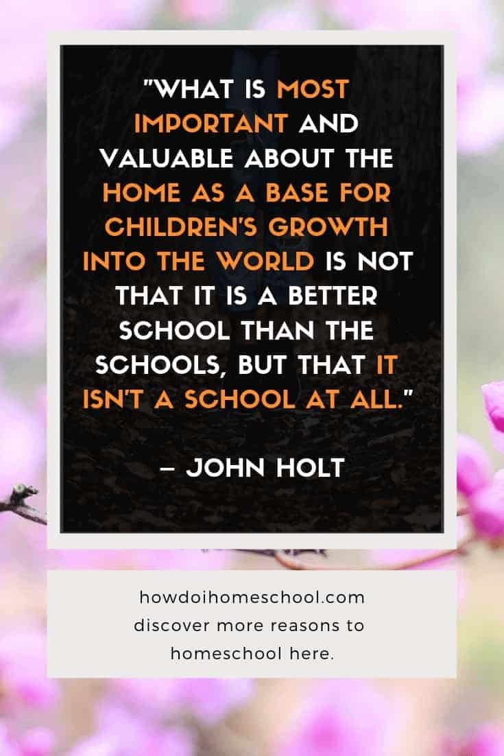 """WHAT IS MOST IMPORTANT AND VALUABLE ABOUT THE HOME AS A BASE FOR CHILDREN'S GROWTH INTO THE WORLD IS NOT THAT IT IS A BETTER SCHOOL THAN THE SCHOOLS, BUT THAT IT ISN'T A SCHOOL AT ALL."" John Holt homeschool quote anti-school #howdoihomeschool"