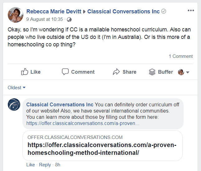 Classical Conversations Comment on International Postage Users