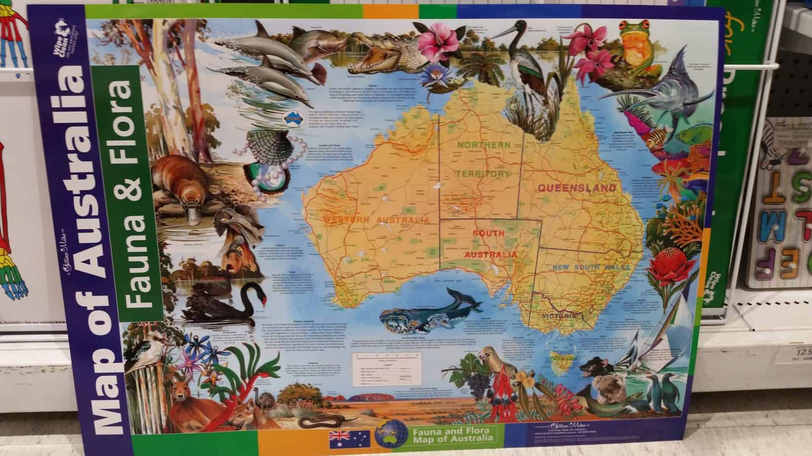 Homeschool geography isn't complete without a map of your country on the wall.
