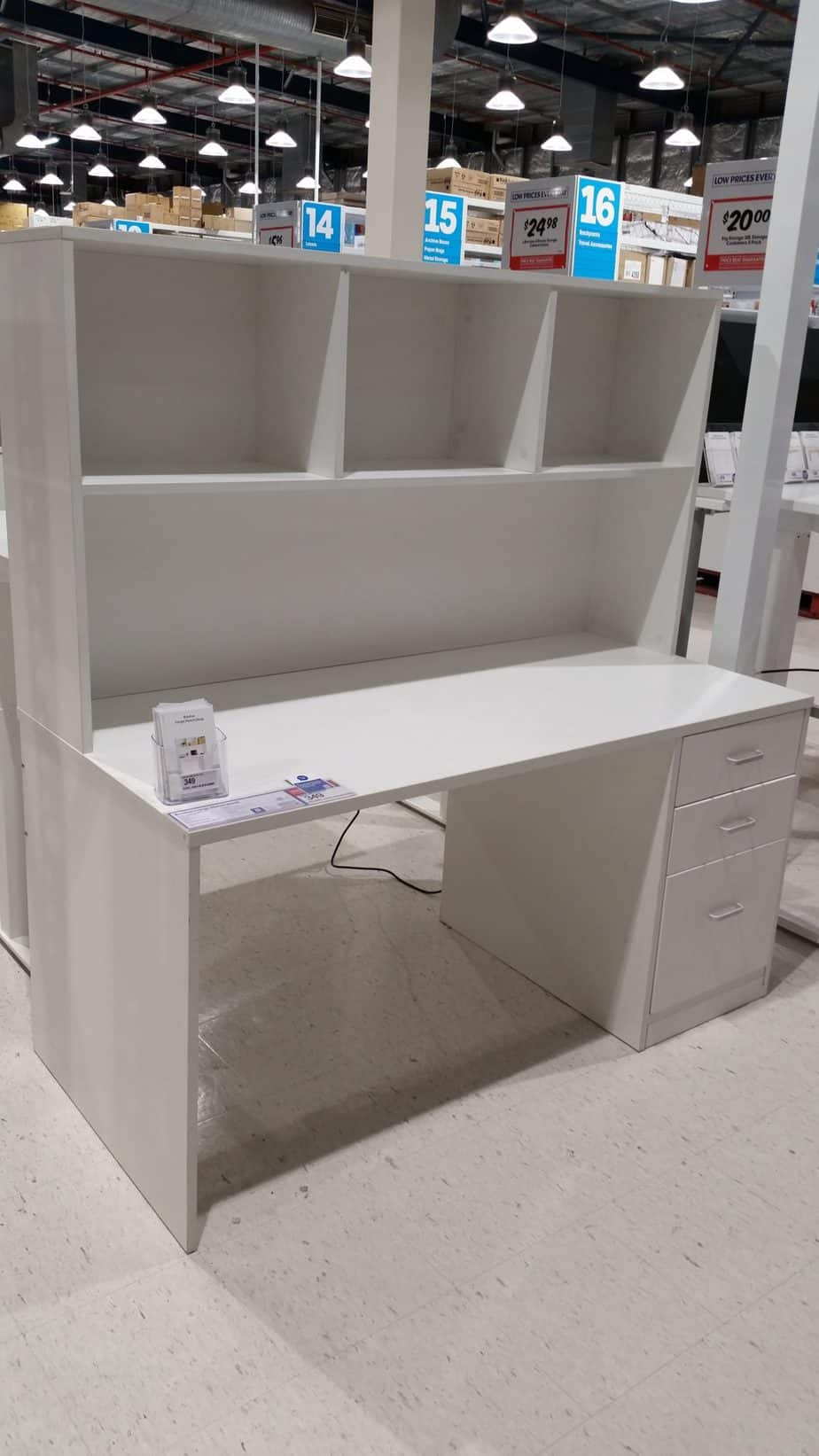 This is another option for a desk in your homeschool room. It can house all books or curricula on the top hutch and all the stationary in the draws.