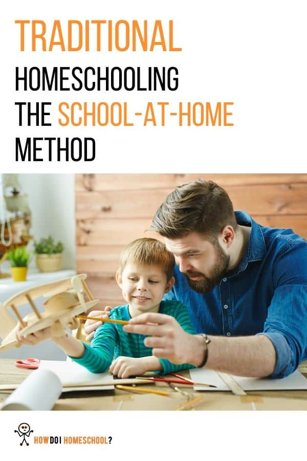 Traditional homeschooling: The school-at-home method. Is this homeschooling method for you? Find out about this homeschooling approach here and see if you can see yourself with a BJU, Abeka or Easy Peasy homeschooling curriculum. #howdoihomeschool #homeschool