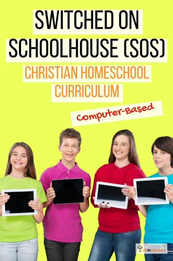 Discover if this offline USB computer-based Christian homeschool curriculum is for you. SOS (also called Switched on Schoolhouse) is a great program if you want everything recorded online. #homeschoolcurriculum #christiancurriculum #onlinecurriculum
