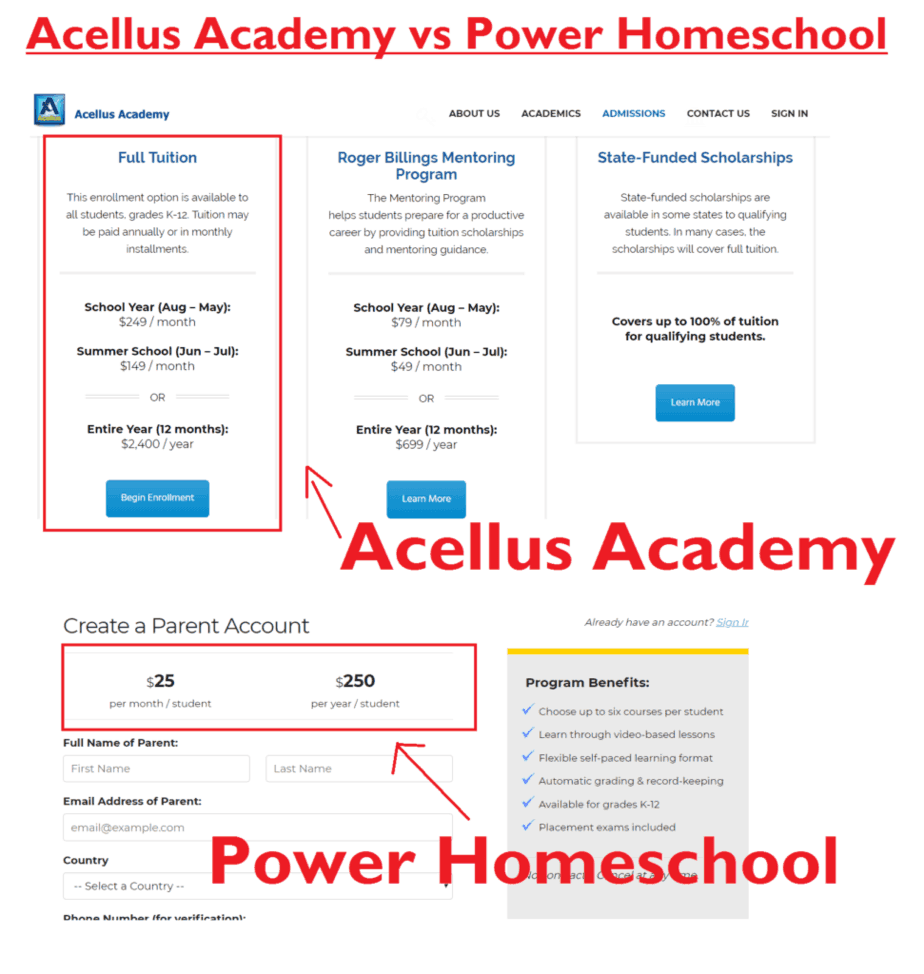 Cost Acellus Academy vs Power Homeschool. #acelluscost #powerhomeschoolcost #acellusacademyvspowerhomeschool