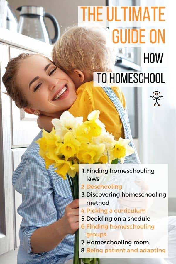 The ultimate guide on How to Homeschool. 8 steps on on how to start home educating: Laws, deschooling, methods, curriculum, schedule, room, groups, & patience.