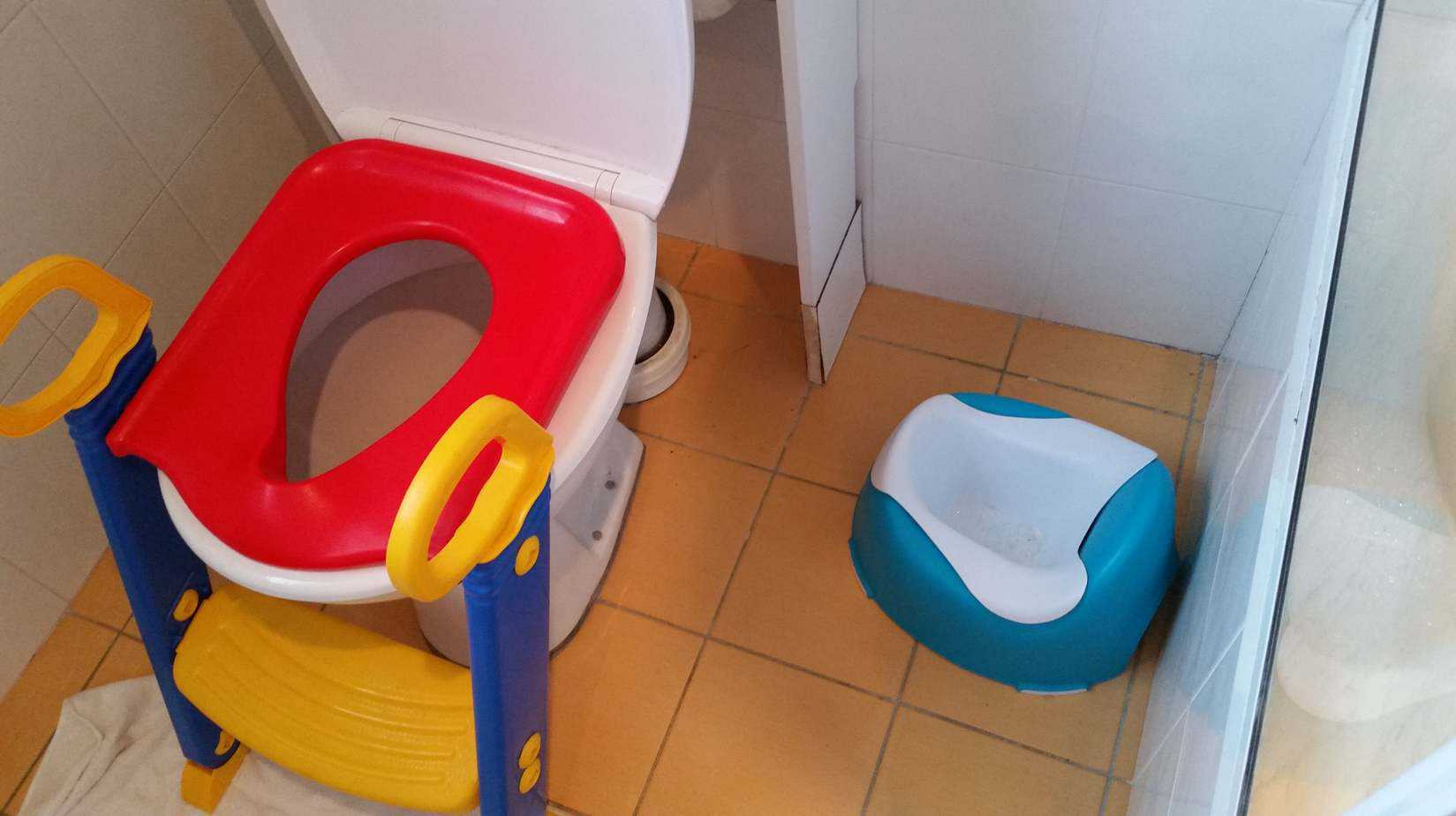 Toilet training setup, complete with stepping stool, potty for baby and towel to catch little leaks.
